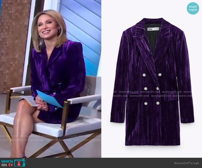 Velvet Blazer Dress by Zara worn by Amy Robach  on Good Morning America