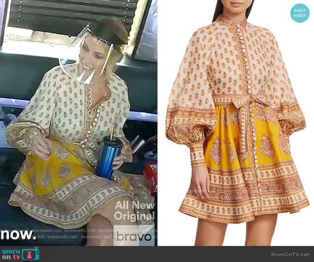 Bonita Paisley Linen Mini Dress by Zimmermann worn by Stephanie Hollman  on The Real Housewives of Dallas