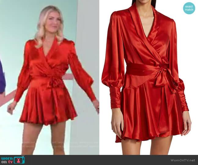 Silk Wrap Mini Dress by Zimmermann worn by Amanda Kloots  on The Talk