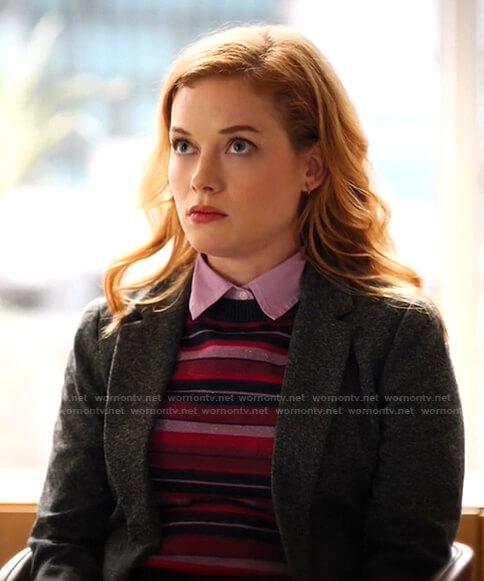 Zoey's metallic striped sweater on Zoeys Extraordinary Playlist
