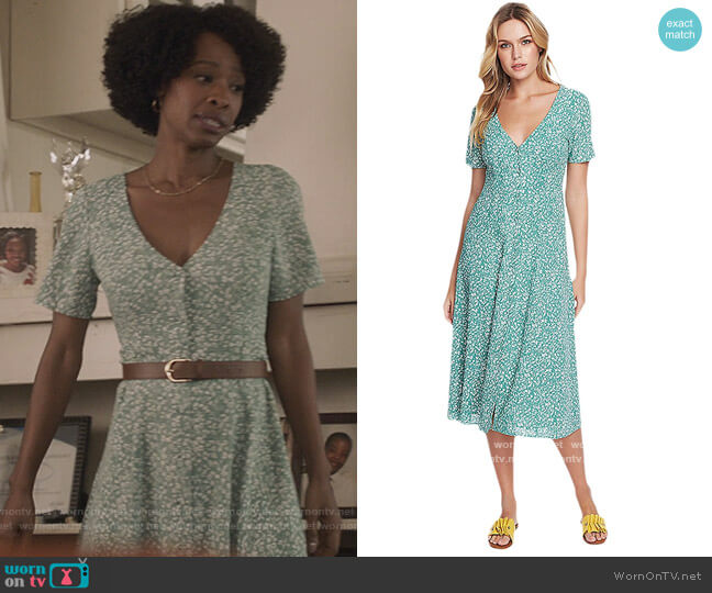 Short Sleeve Folk Silhouette Floral Button Front Dress by 1. State worn by Grace James (Karimah Westbrook) on All American