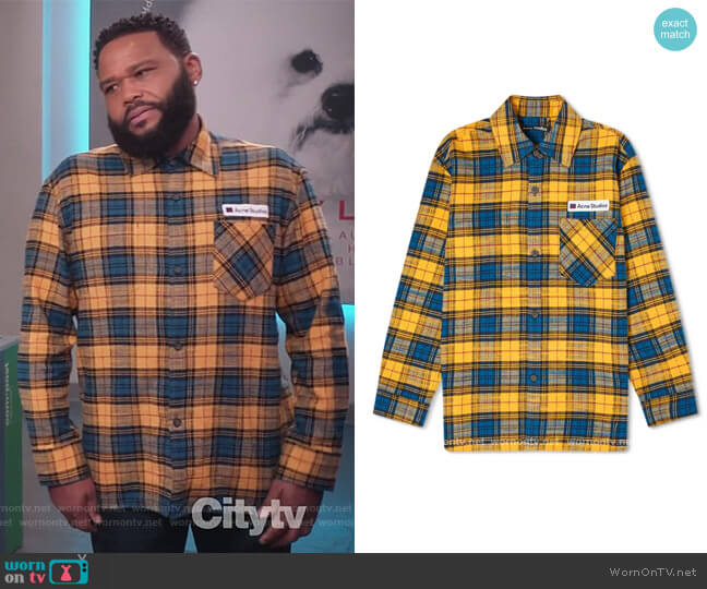 Salak Flannel PC Face Shirt by Acne Studios worn by Andre Johnson (Anthony Anderson) on Blackish