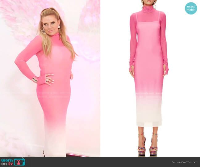 Shailene Long Sleeve Print Mesh Dress by AFRM worn by Heather Gay  on The Real Housewives of Salt Lake City
