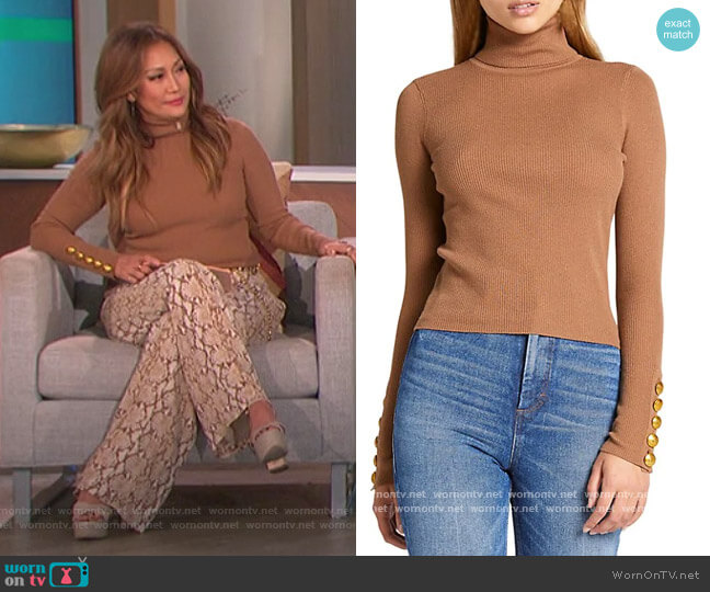 Desi Rib-Knit Turtleneck Sweater by A.L.C. worn by Carrie Inaba  on The Talk