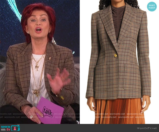 Hicks Check Single Button Blazer by A.L.C. worn by Sharon Osbourne  on The Talk
