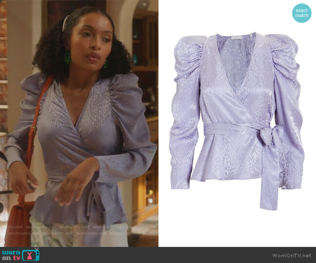 Palermo Top in Lilac by A.L.C. worn by Zoey Johnson (Yara Shahidi) on Grown-ish