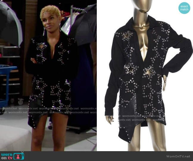 Anthony Vaccarello Suede Embellished Dress worn by Paris Buckingham (Diamond White) on The Bold & the Beautiful