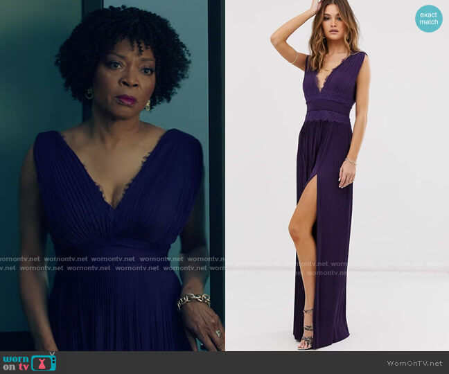 ASOS DESIGN premium lace insert pleated maxi dress worn by Violet Bordelon (Tina Lifford) on Queen Sugar