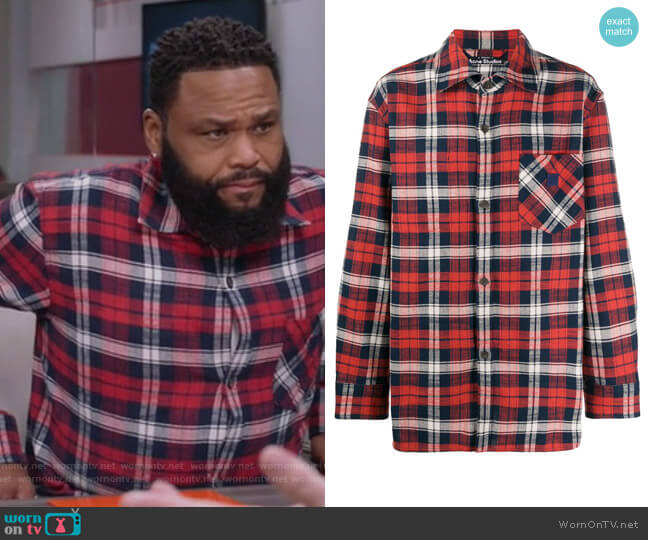 Face patch plaid overshirt by Acne Studios worn by Andre Johnson (Anthony Anderson) on Blackish