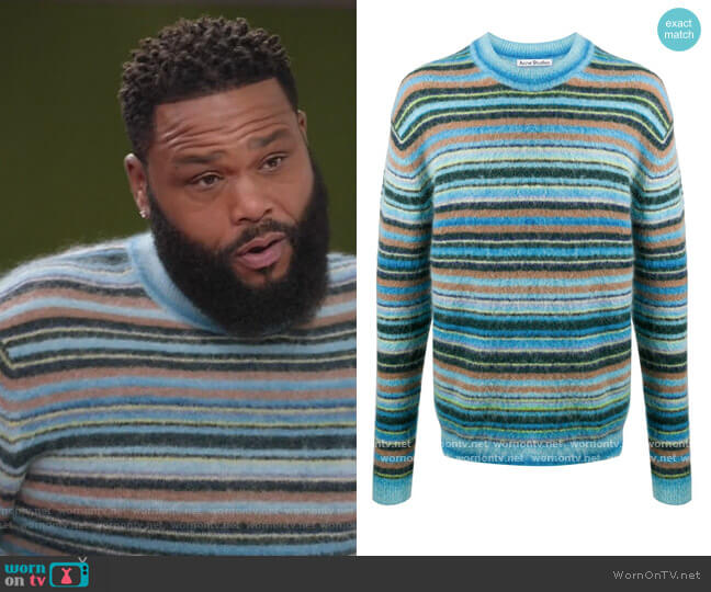 Stripe Crew Neck Jumper by Acne Studios worn by Andre Johnson (Anthony Anderson) on Blackish