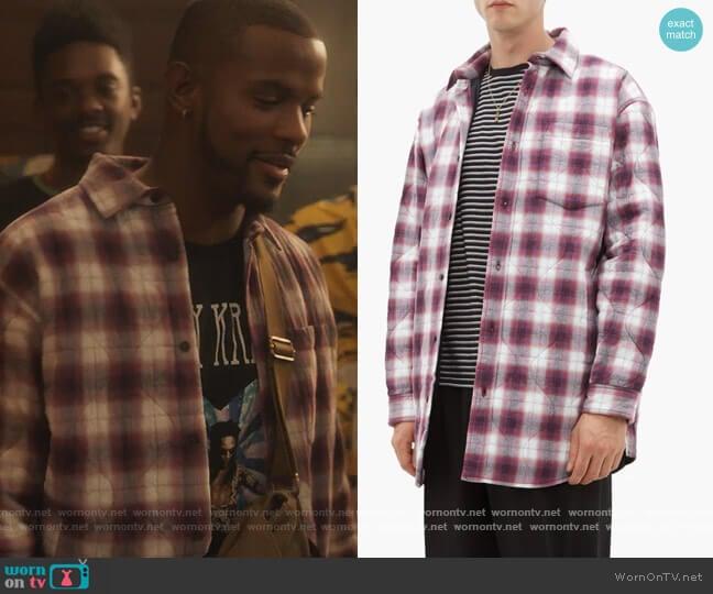 Sakari padded check cotton-blend shirt by Acne Studios worn by Aaron Jackson (Trevor Jackson) on Grown-ish