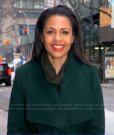 Adrienne's green wrap coat on Good Morning America