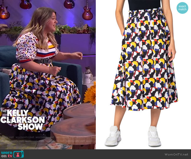 Floating Dot Belted Midi Skirt by Akris Punto worn by Kelly Clarkson  on The Kelly Clarkson Show