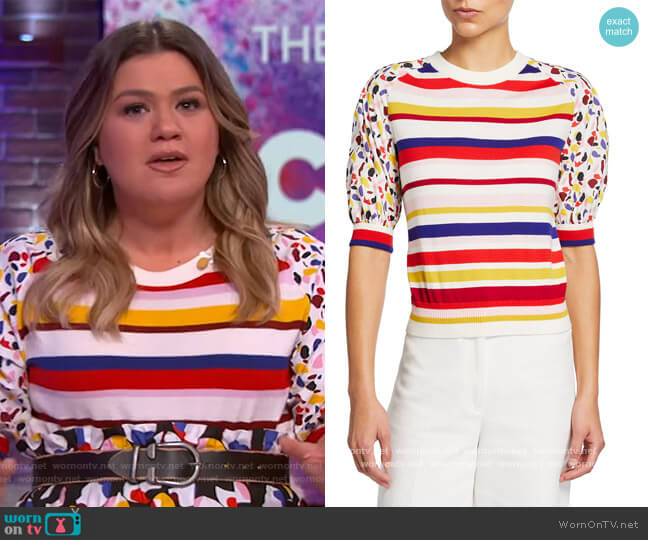 Fantasy Knit Puff-Sleeve Shirt by Akris Punto worn by Kelly Clarkson  on The Kelly Clarkson Show