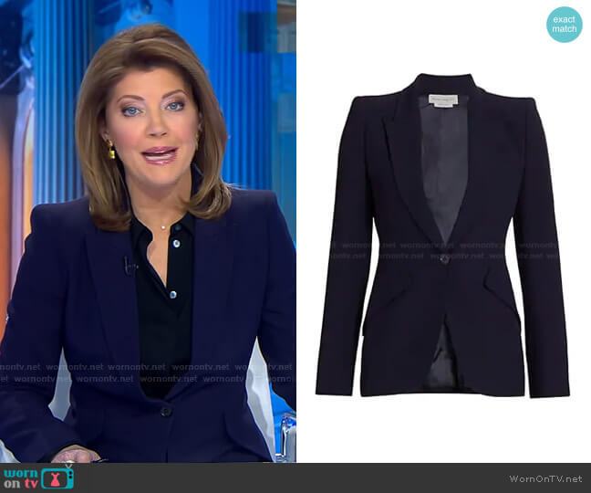 One-Button Jacket by Alexander McQueen worn by Norah O'Donnell  on CBS Evening News