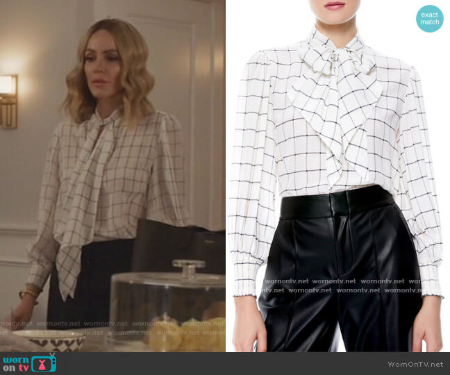Windowpane Check Tie Neck Silk Blouse by Alice + Olivia worn by Laura Baker (Monet Mazur) on All American