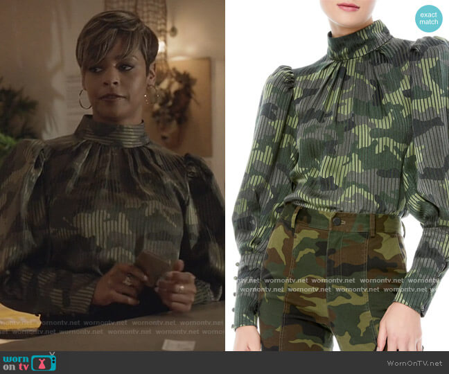 Winslet Camo Print Long Cuff Tunic Blouse by Alice + Olivia worn by Erica Peeples on All American