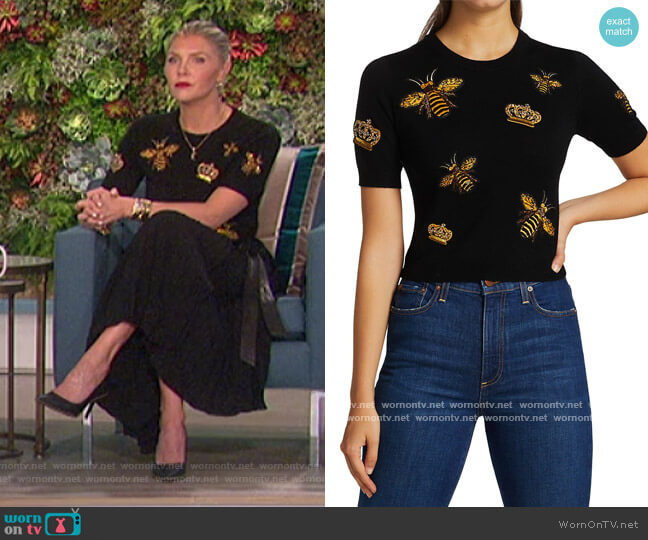 Ciara Bee Embroidered Pullover by Alice + Olivia worn by Amanda Kloots  on The Talk