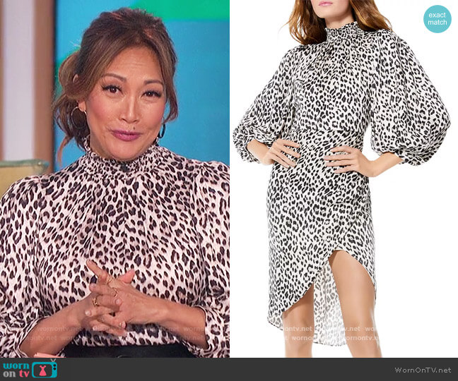 Jerilyn Balloon Sleeve Dress by Alice + Olivia worn by Carrie Inaba  on The Talk