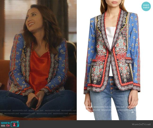 Macey Mix Print Blazer by Alice + Olivia worn by Ana Torres (Francia Raisa) on Grown-ish