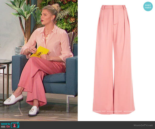 Eric High-Waisted Wide-Leg Pants by Alice + Olivia worn by Amanda Kloots  on The Talk