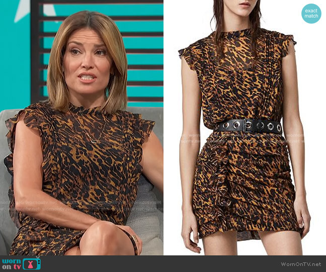 Hali Ambient Leopard Print Mini Dress by Allsaints worn by Kit Hoover  on Access Hollywood