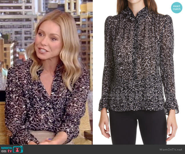 Amelia Metallic Print Blouse by Ba&Sh worn by Kelly Ripa  on Live with Kelly & Ryan