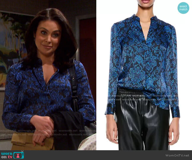 Amos Printed Textured Top by Alice + Olivia worn by Chloe Lane (Nadia Bjorlin) on Days of our Lives