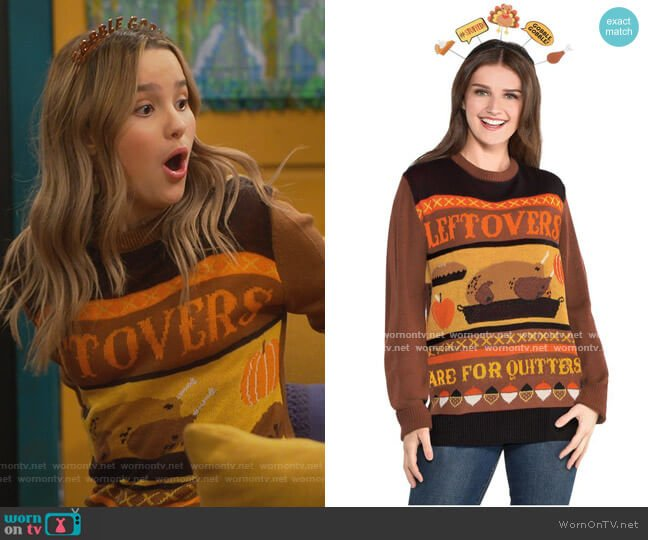 Thanksgiving Leftovers Are For Quitters Ugly Sweater by Amscan worn by Lex (Jules LeBlanc) on Side Hustle