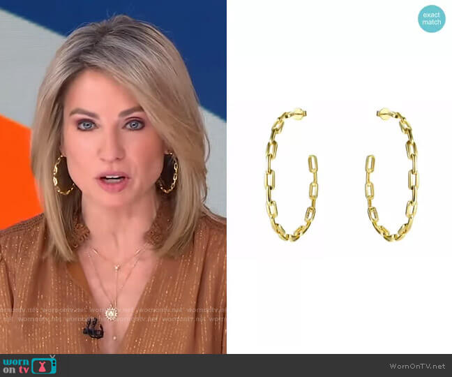 Anchor Chain Hoops by Accessory Concierge worn by Amy Robach  on Good Morning America