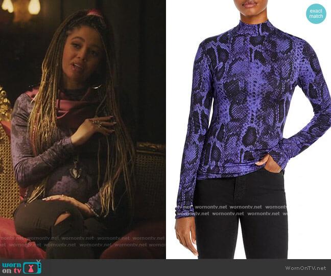 Beth Snake Print Mock Neck Top by Andamane worn by Toni Topaz (Vanessa Morgan) on Riverdale