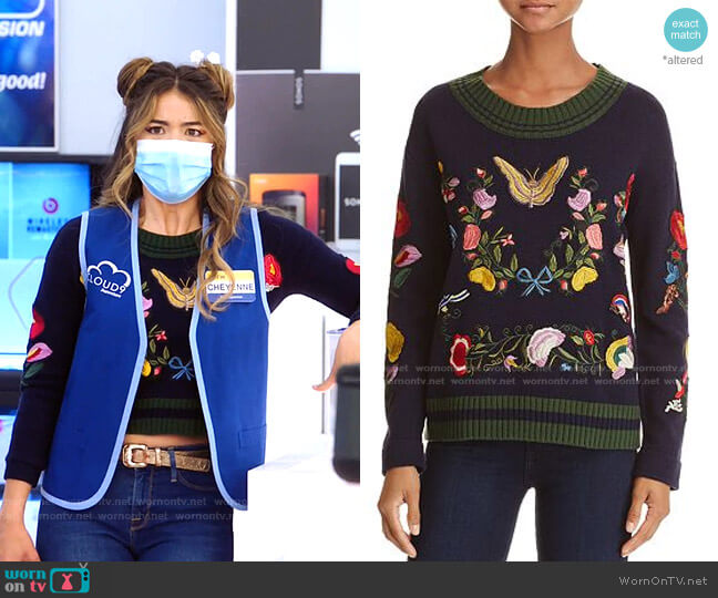 Embroidered Sweater by Aqua worn by Cheyenne (Nichole Bloom) on Superstore