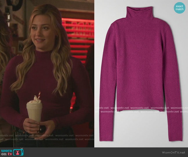 Darling Sweater in Luminous Violet by Wilfred at Aritzia worn by Betty Cooper (Lili Reinhart) on Riverdale