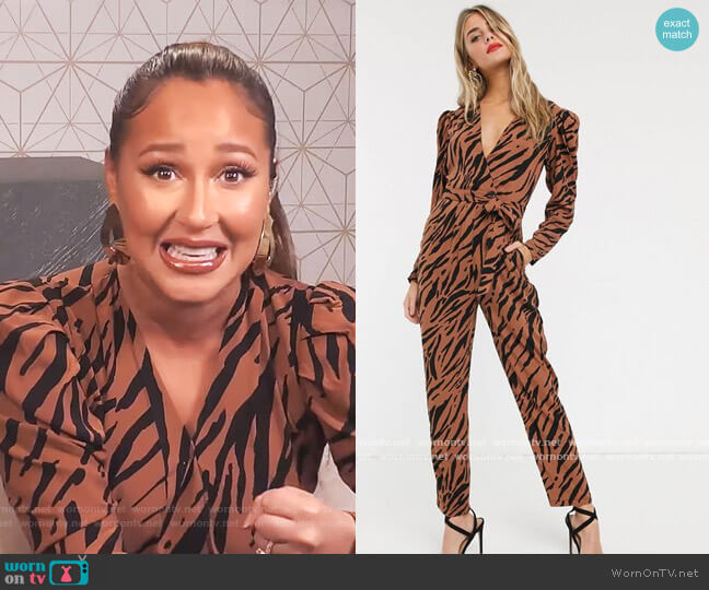Tea Jumpsuit in Tiger Print by ASOS worn by Adrienne Houghton  on The Real