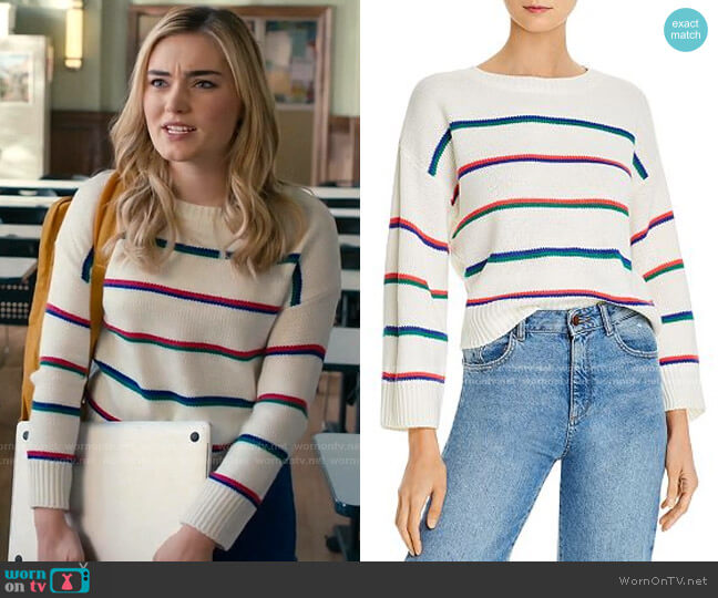 Stripe Hype Sweater by BB Dakota  worn by Taylor Otto (Meg Donnelly) on American Housewife