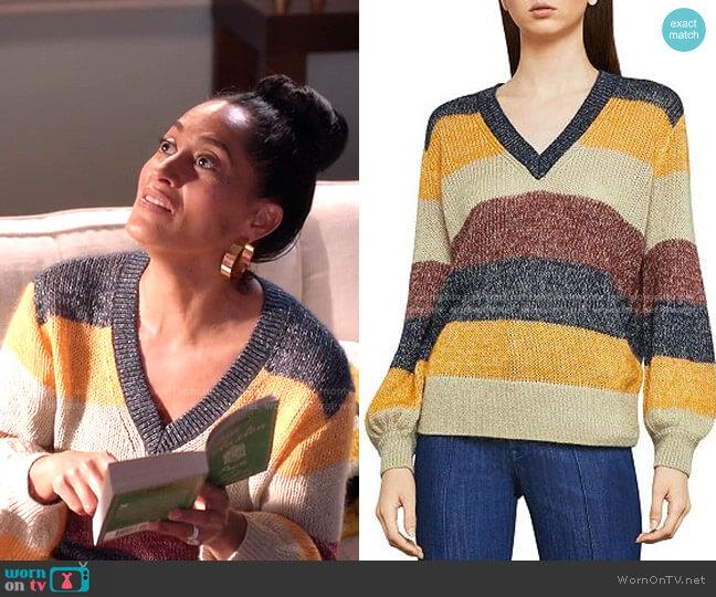 Metallic Striped Sweater by Bcbgmaxazria worn by Rainbow Johnson (Tracee Ellis Ross) on Blackish