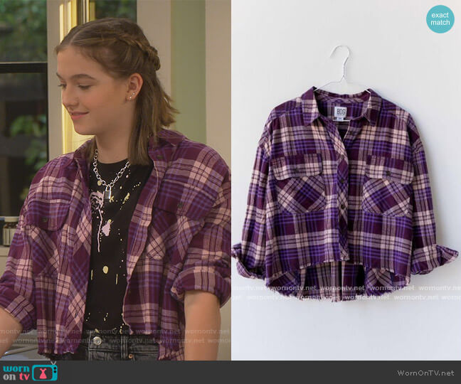 Rayne Flannel Plaid Button-Down Shirt by BDG at Urban Outfitters worn by Presley (Jayden Bartels) on Side Hustle