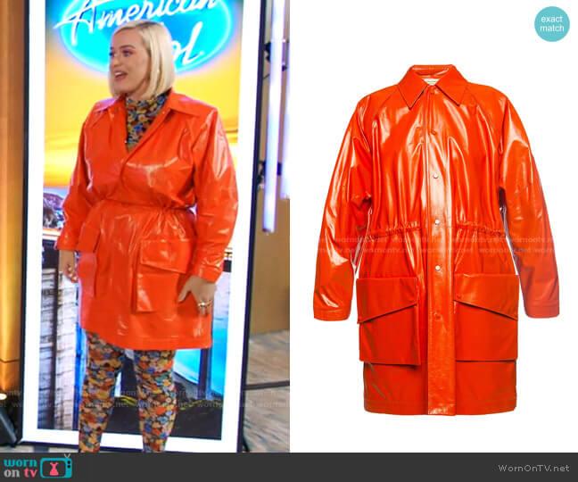 Leather coat by Bottega Veneta worn by Katy Perry  on American Idol