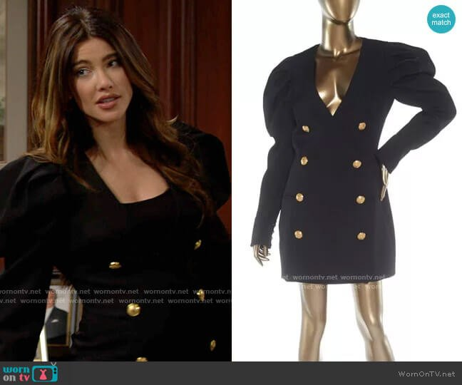 Balmain Mutton Long Sleeve Dress worn by Steffy Forrester (Jacqueline MacInnes Wood) on The Bold & the Beautiful