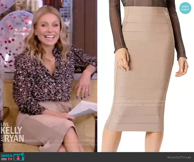 Bandage Pencil Skirt by Herve Leger worn by Kelly Ripa  on Live with Kelly & Ryan