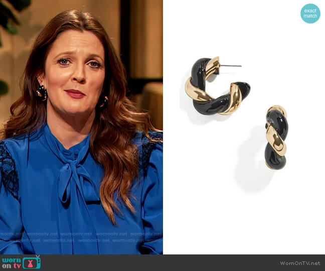 Two-Tone Twisted Hoop Earrings by Baublebar worn by Drew Barrymore  on The Drew Barrymore Show
