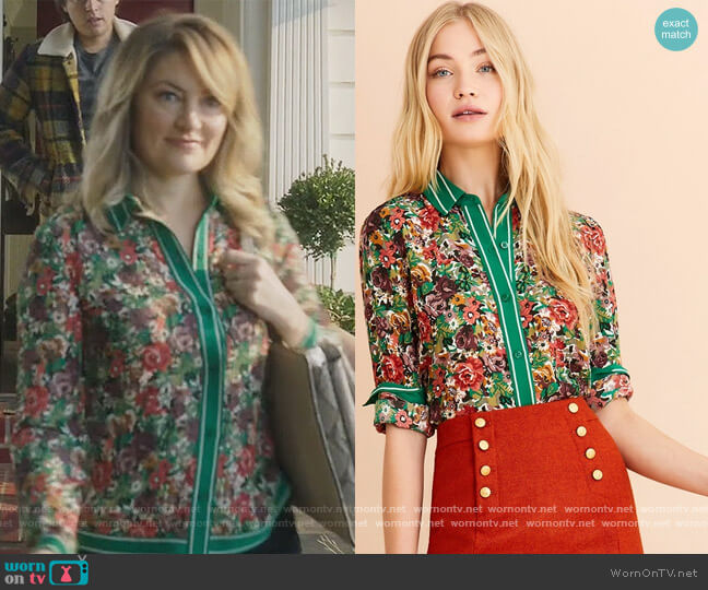Floral-Print Crepe Blouse by Brooks Brothers worn by Alice Cooper (Mädchen Amick) on Riverdale