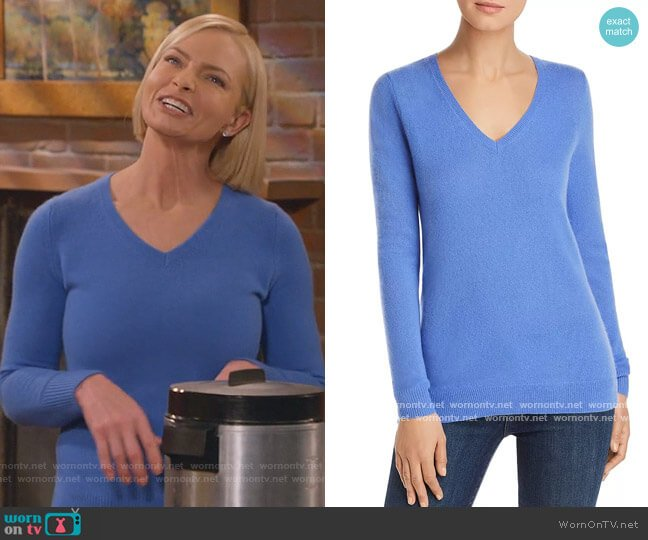 V-Neck Cashmere Sweater by C by Bloomingdales worn by Jill Kendall (Jaime Pressly) on Mom