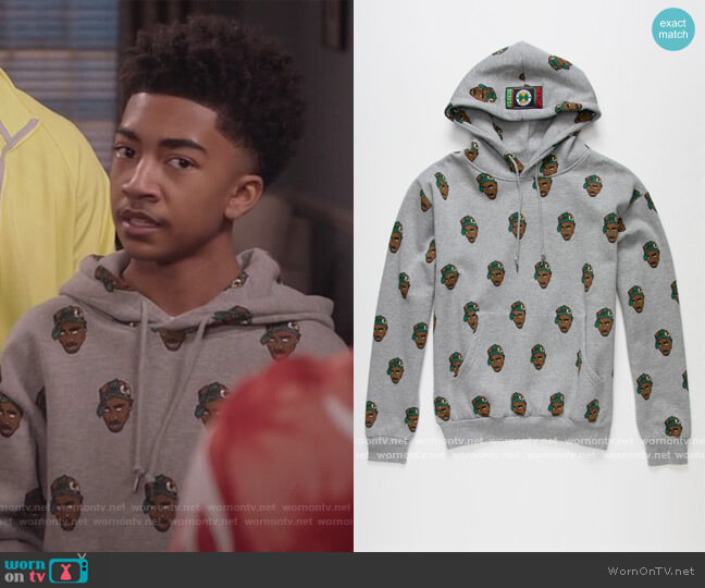 Tupac Hoodie by Cross Colours worn by Jack Johnson (Miles Brown) on Blackish