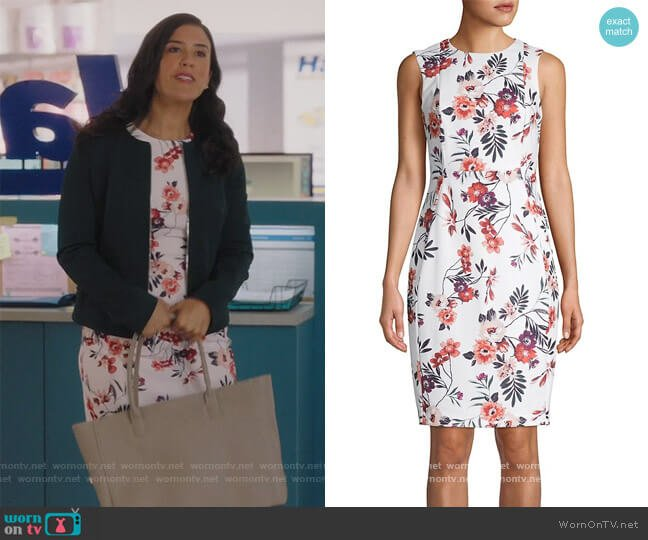 Floral Sheath Dress by Calvin Klein worn by Shannon Ross (Nicole Power) on Kims Convenience