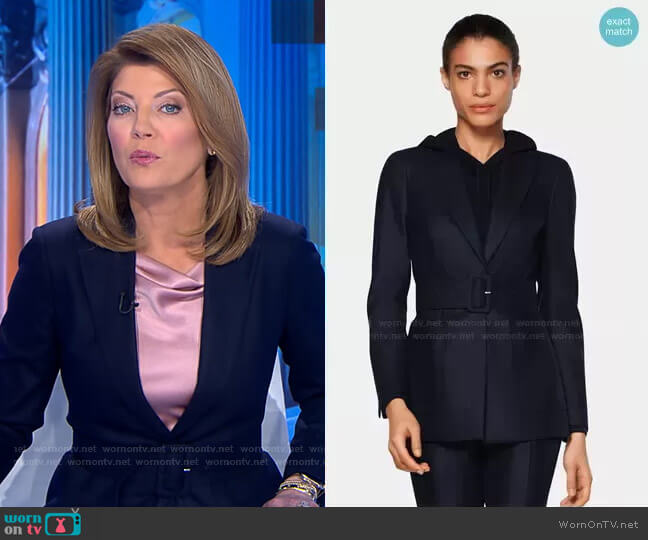 Cameron Belted Jacket by Suitsupply worn by Norah O'Donnell  on CBS Evening News