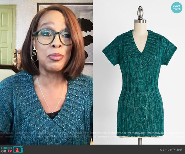 Casually Cozy and Chunky V-Neck Sweater by Joe Brown at ModCloth worn by Gayle King on The Talk