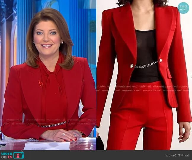 Chain-Embellished Wool-Twill Blazer by Michael Kors worn by Norah O'Donnell  on CBS Evening News