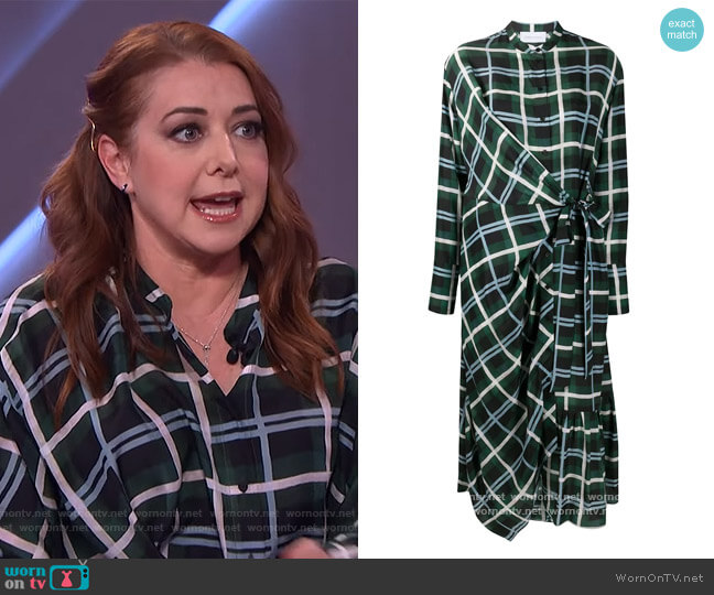 Plaid Check Wrap Silk Dress by Christian Wijnants worn by Alyson Hannigan on The Kelly Clarkson Show