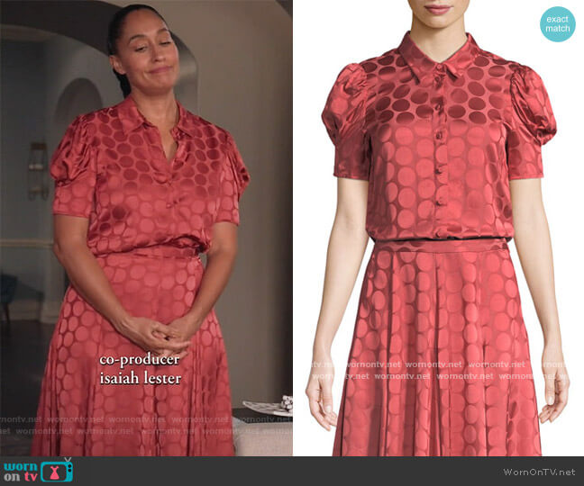 Button-Front Short-Sleeve Tonal Dot Satin Blouse and Skirt by Co worn by Rainbow Johnson (Tracee Ellis Ross) on Blackish